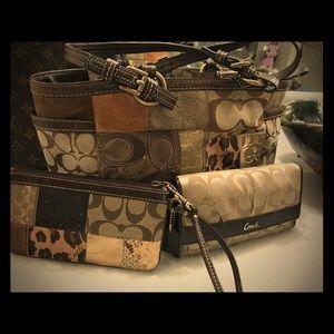 Coach handbag, matching wristlet and wallet.